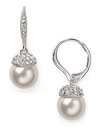 Nadri | Metallic Pearl Drop with Pave Cap Earrings | Lyst