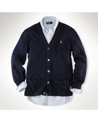 Polo Ralph Lauren | Blue Cotton Mesh Cardigan for Men | Lyst