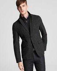 Burberry - Black Wickham Convertible Tweed Jacket for Men - Lyst