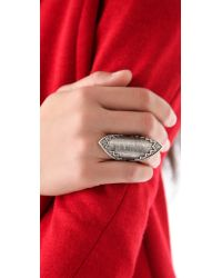 House of Harlow 1960 - Metallic Cross Hatched Pave Ring - Lyst