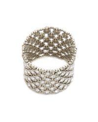 Kenneth Jay Lane - Metallic Crystal Stretch Bracelet - Lyst