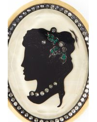 Lanvin - Black Crystal Resin and Brass Cameo Necklace - Lyst