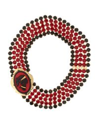 Miu Miu | Red Gold-Plated Crystal Cameo Necklace | Lyst