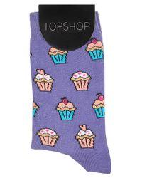 TOPSHOP - Purple Cupcake Ankle Socks - Lyst