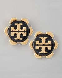 Tory Burch - Walter Logo Stud Earrings Black - Lyst