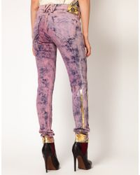 Vivienne Westwood Anglomania For Lee Purple Monroe Jegging Jeans in Hippy Pink Print