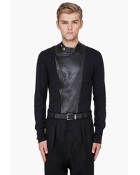Saint Laurent | Black Leather Trim Cashmere Sweater for Men | Lyst