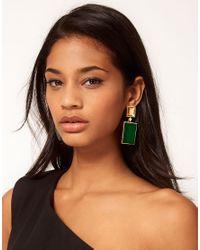 ASOS - Green Stone Rectangle Doorknocker Earrings - Lyst