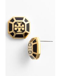 Tory Burch | Metallic Rylan Logo Small Stud Earrings | Lyst