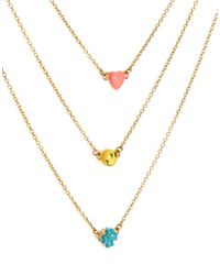 Disaya - Metallic Smiley Triple Strand Necklace - Lyst