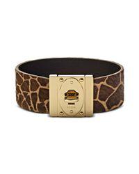 Fossil - Metallic Giraffe Printed Leather Wrist Bracelet - Lyst