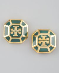 Tory Burch - Green Rylan Logo Earrings Malachite - Lyst