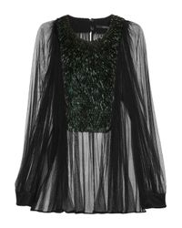 Gucci | Black Pailletteembellished Tulle Blouse | Lyst