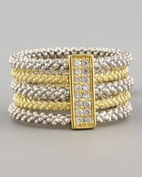 Lagos | Metallic Pave Diamond Soiree Stacked Ring | Lyst