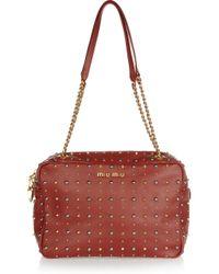 Miu Miu | Brown Studded Leather Shoulder Bag | Lyst