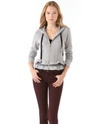 RED Valentino - Gray Lace Trim Zip Up Hoodie - Lyst