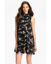 Ted Baker | Black Skater Dress In Cascading Floral Print | Lyst