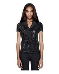 Tory Burch - Black Annabelle Sequin Top - Lyst