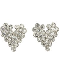 Cathy Waterman | White Diamond Scalloped Heart Stud Earrings | Lyst