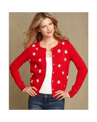 Tommy Hilfiger | Red Long Sleeve Printed Cardigan | Lyst