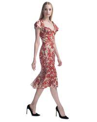 Zac Posen   Red Hibiscus Printed Chiffon Cocktail Dress   Lyst