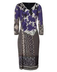 Etro - Blue Painted Floral Print Dress - Lyst