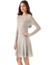 Zac Posen | Metallic Pointelle Lurex Dress | Lyst