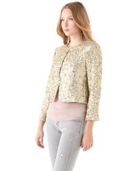 Alice + Olivia | Gold Brianna Sequined Tulle Jacket | Lyst