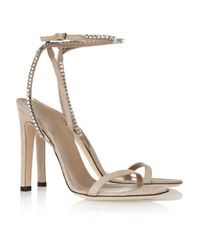 Gucci | Natural Crystal embellished Suede Sandals | Lyst