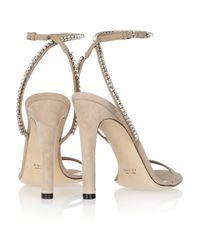 Gucci   Beige Crystal embellished Suede Sandals   Lyst