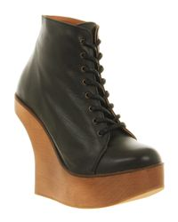 Jeffrey Campbell | Harlem Ankle Boot Black Lthr Natural Heel | Lyst