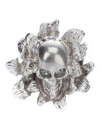 Alexander McQueen   Metallic Skull Flower Ring   Lyst