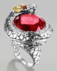 John Hardy - Metallic Batu Naga Pave Diamond Ring Ruby - Lyst