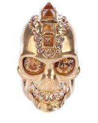 Alexander McQueen   Metallic Punk Skull Cocktail Ring   Lyst