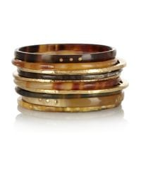 Ashley Pittman | Brown Bamba Set Of Ten Horn and Bronze Bangles | Lyst