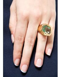 Mango - Metallic Touch Faceted Stone Ring - Lyst