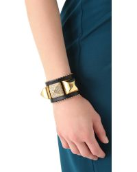 Juicy Couture - Metallic Pave Pyramid Leather Cuff - Lyst