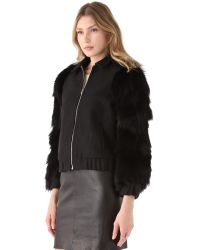 Antipodium - Black Vyner Fur Sleeve Bomber Jacket - Lyst