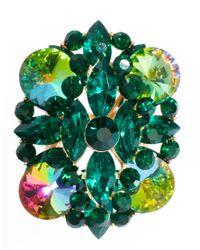 ASOS - Green Multi Stone Cocktail Ring - Lyst
