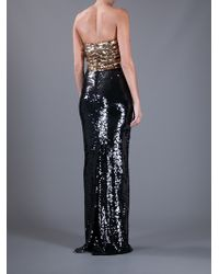 Dolce & Gabbana | Gold Sequin Strapless Dress | Lyst