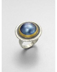 Gurhan | Blue Gauntlet Grey Mabe Pearl, 24K Yellow Gold & Sterling Silver Ring | Lyst