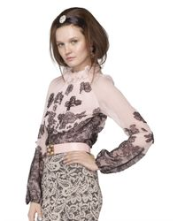 Oscar de la Renta - Pink Chantilly Lace Blouse - Lyst