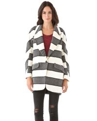 Rag & Bone | White Striped Woolblend Coat | Lyst