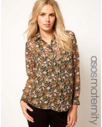 ASOS - Brown Shirt in Tulip Print - Lyst
