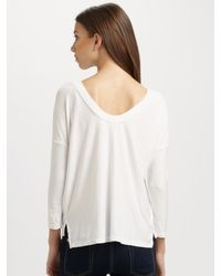 James Perse - White Scoopback Pocket Tee - Lyst