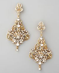 Jose & Maria Barrera | Metallic Gold & Crystal Chandelier Earrings | Lyst