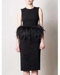 Alexander McQueen | Black Feather trimmed Top | Lyst