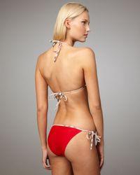 Burberry | Check-trim Bikini, Military Red | Lyst