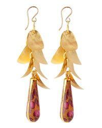 Devon Leigh | Metallic Mosaic Jasper Gold Leaf Earrings | Lyst