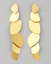 Herve Van Der Straeten | Metallic Long Leaf Earrings | Lyst